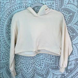 PACSUN Light Yellow Cropped Hooded Sweatshirt